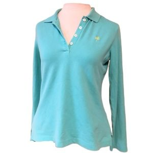 LILLY PULITZER Preshrunk Long Sleeve Polo Size S